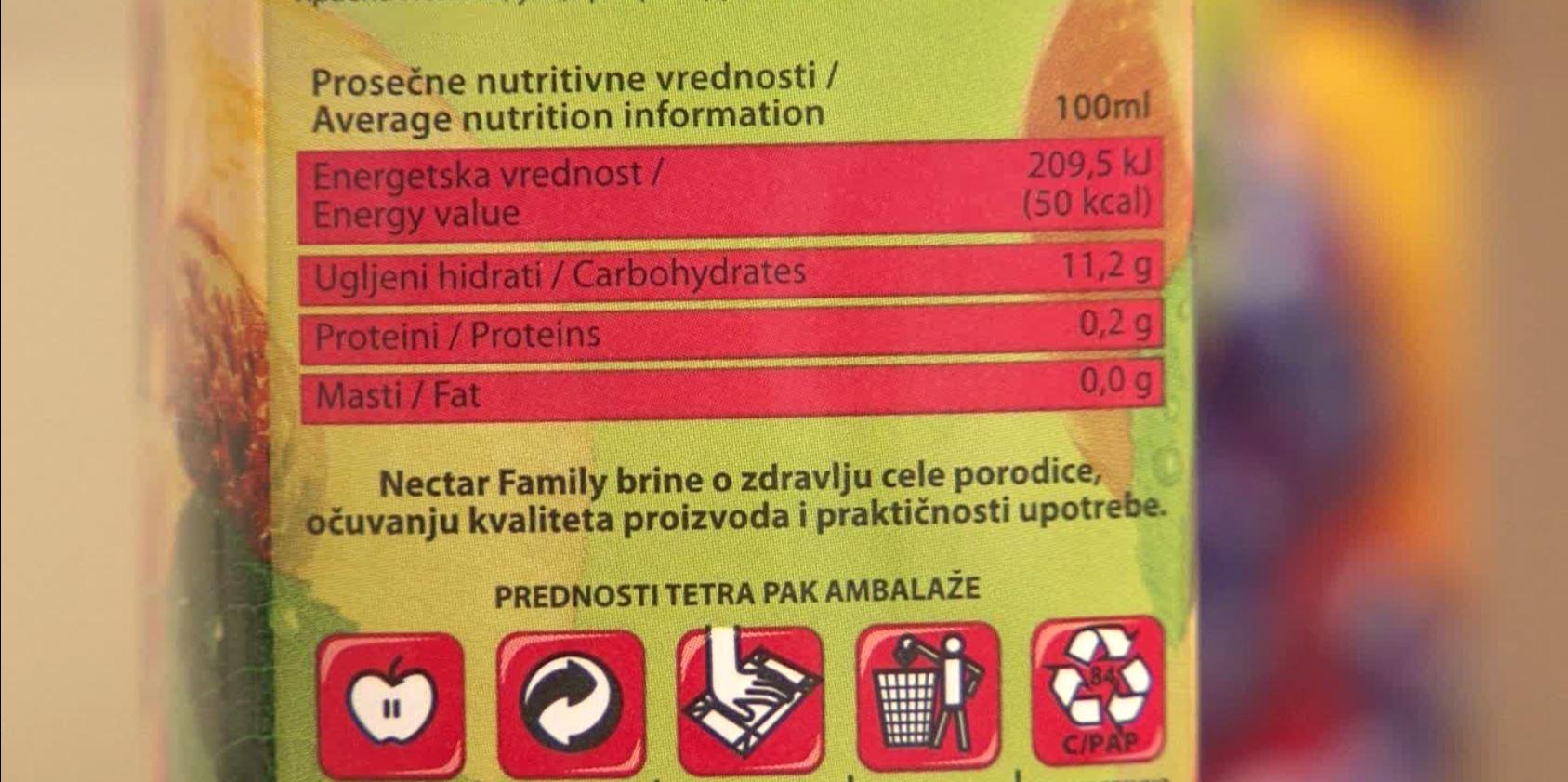 """U skladu s važećim Pravilnikom o deklarisanju hrane, kompanija """"Nectar"""" je odlučila da informaciju o sadržaju šećera izostavi."""