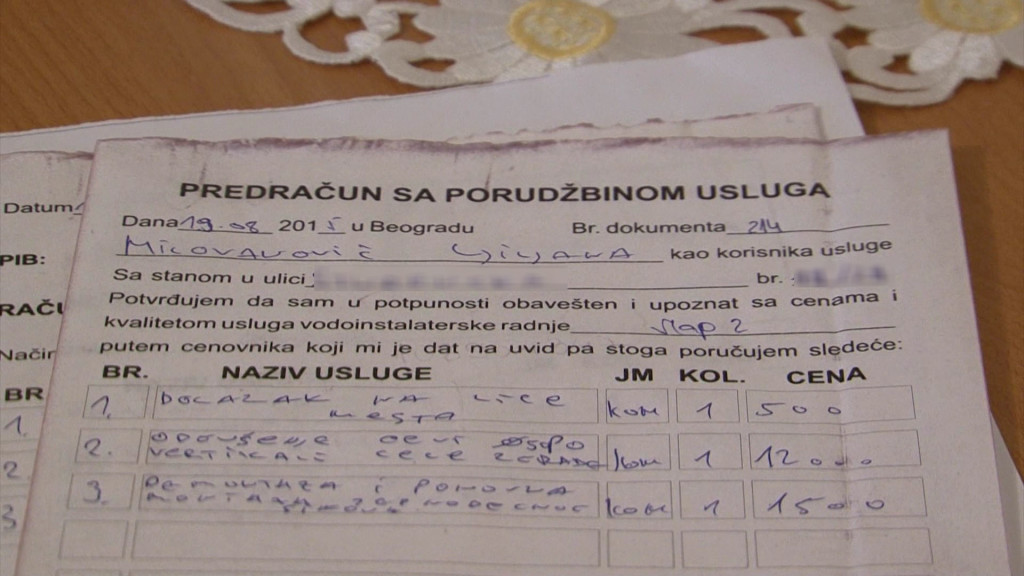 Predračun za koji gospođa Milovanović tvrdi da je potpisala pre unošenja cene izvedenih radova