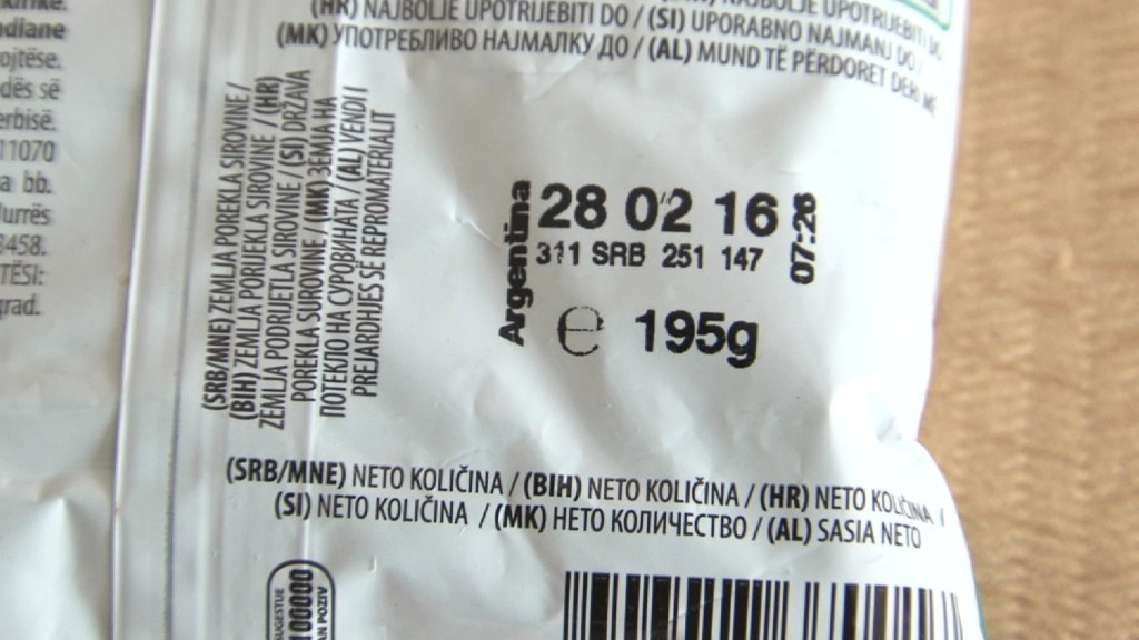 Deklaracija Marbovog kikirikija u kojoj je navedena nova gramaža od 195 grama