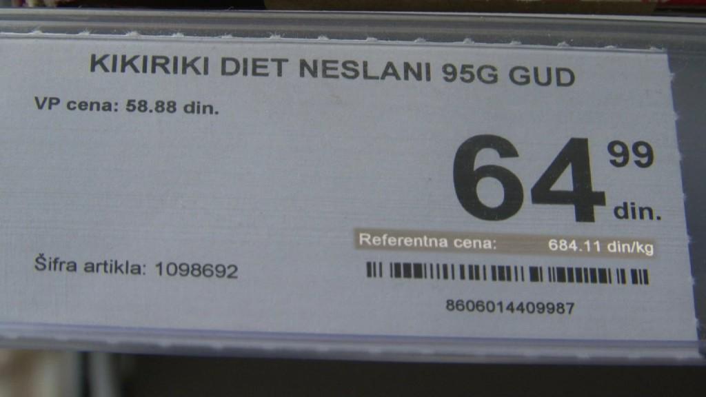 Primer jedinične cene koja pokazuje cenu proizvoda po kilogramu