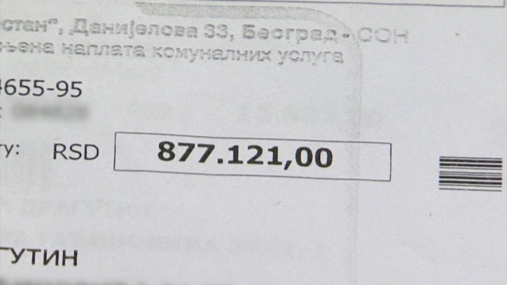 Račun od 877.000 dinara koji je Ljiljana Novaković dobila za utrošenu vodu