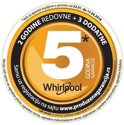 Whirlpool nova nalepnica  5 godina garancije